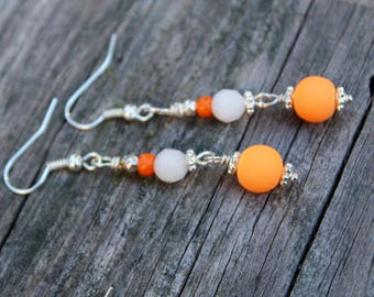 Orange Earrings, Neon Earrings, Bright Neon Orange Earrings, Orange Long Dangles, Dangle Earrings White and Orange, Gift for her, Earrings