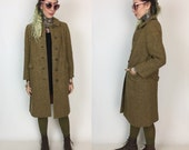 60's Union Made Wool Shift Coat Size 8 Womens Winter Coat Medium - Yellow Brown Wool Shift Coat - Button Front Ladies Satin Lined Wool Coat