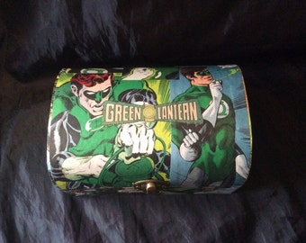 Green Lantern Hand Decorated Storage/Gift small chest