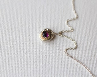 Amethyst In 14k Gold Setting on Recycled Sterling Silver Necklace