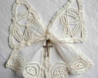 Antique lace bow jabot, silver cross crucifix pendant, victorian style