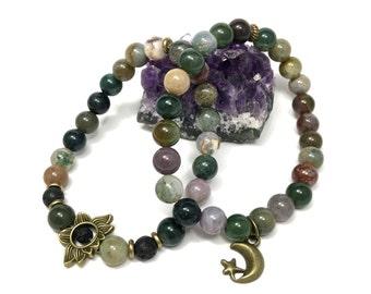 Indian Agate Stretch Bracelet Set