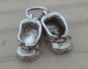 Vintage sterling silver baby bootees charm