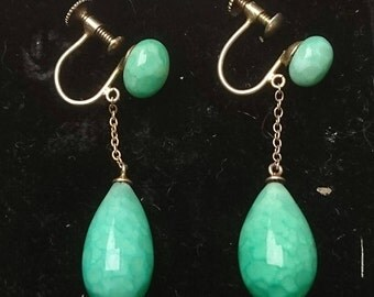 Vintage green gemstone screwback earrings