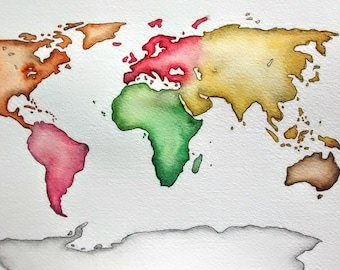 Montessori World Map original watercolor painting by Erin Fortin