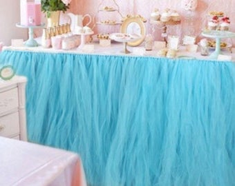 Light Blue Tulle tutu Table Skirt