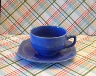 Free Shipping Vintage Homer Laughlin China Co. Riviera Glazed Blue Pottery Art Deco Cup and Saucer Scalloped Edge