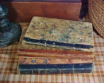 3 Antique Small Books, Marble Covers, Leather Spines, c 1840, Primitive Children's Books