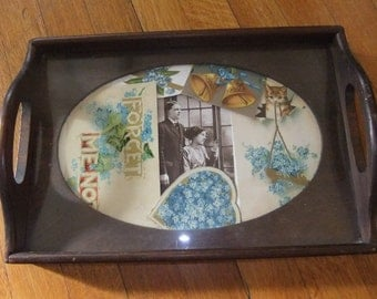 Three Mountaineers Display Tray for Needlework or Photographs, Dark Pine, with Oval Opening