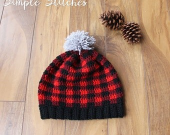 Buffalo Check Plaid Slouch Hat - Holiday Plaid Hat