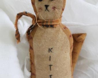 Kitty Cat Folk Art Ornament Doll Shelf Sitter