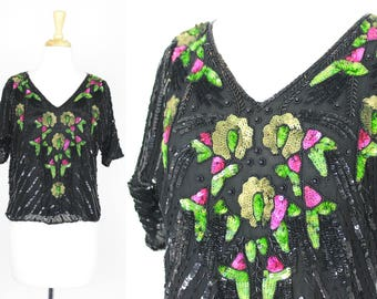 Vintage Sequin Blouse Top Floral Medium