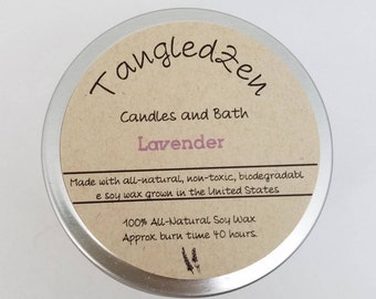 Lavender - 6oz. All Natural Soy Candle Tin