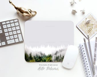 Forest Mousepad Forest Mouse pad Trees Mouse Mat Green Forest Mouse Pad Office Mousemat Rectangular Mousemat Forest Mousepad Round U112.