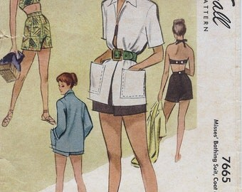 1940s McCall 7665 Misses' Bathing Suit, Coat and Trunks Sewing Pattern CUT