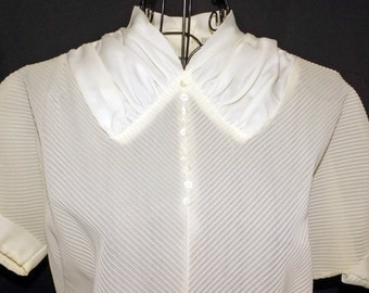 1940s Ivory Secretary Blouse Sz 8 Vintage Retro Wartime