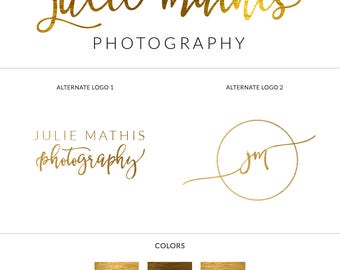 Premade Logo Branding Package, Brushed Gold Logo, Gold Foil Logo, Branding Set, Logo Set, Stamp Watermark, Wedding Logo, Business Logo, s126