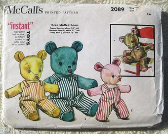 """Vintage 50s Three Stuffed Bears Pattern. """"Instant Toys"""". McCall's 2089 Sewing Pattern."""