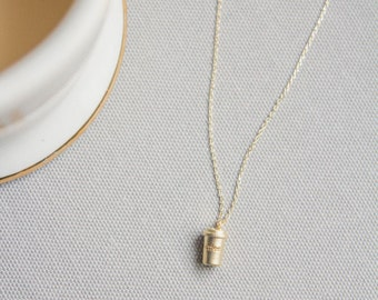 Coffee Cup Necklace - Gold Coffee Necklace - Coffee Cup Glass Necklace  - Coffee Jewelry - Everyday Jewelry -Gold Necklace-Starbucks Jewelry
