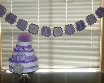 Purple and Gray Elephant Shower Banner