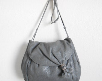 80s vintage bag - grey leather bag purse - 80s Gone Astray bag