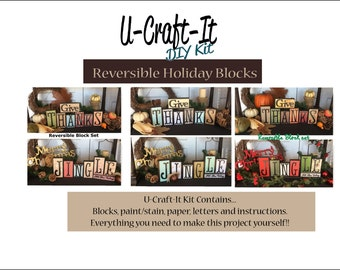 DIY Wooden Blocks -- Holiday U-Craft -It -- Wooden Blocks -- Reversible