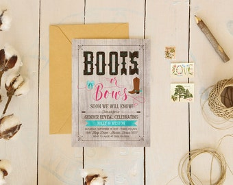 Boots or Bows Gender Reveal Invitation - Rustic Printable Invites - Instant Download