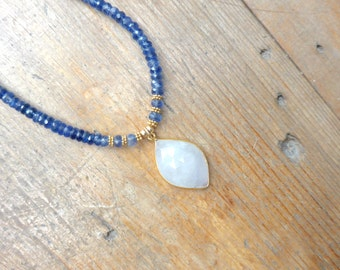 Denim Blue Shaded Kyanite with a Rainbow Moonstone Focal Necklace