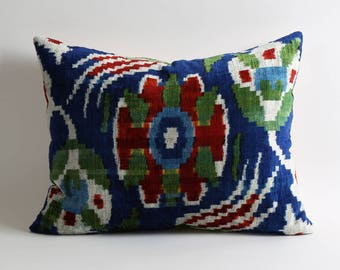 16x20 inch handwoven velvet ikat cushion cover best quality fabric