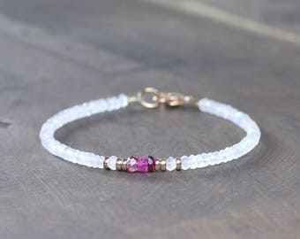Delicate Moonstone & Pink Tourmaline Bracelet with Sterling Silver or Rose Gold Filled Beads, White Pink Gemstone Crystal Beaded Bracelet