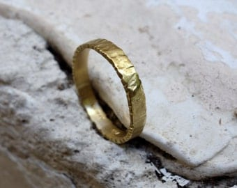Unique Wedding Band Gold Ring Gold Band Womens Wedding Band Mens Wedding Band Thin Gold Wedding Band Texture wedding ring Anniversary