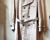 Vintage CORTFIEL Tan Double Breasted Trenchcoat Trench Coat MackIntosh Covered Placket Raincoat Made in Yugoslavia Size 38R 38 R