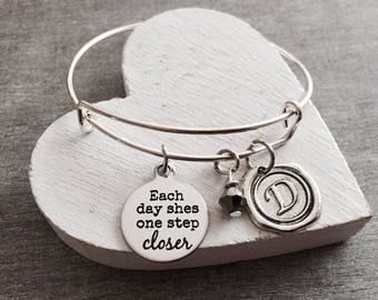 Each day she's, one step closer, empowering women, Girl power, feminism, feminist, silver Bracelet, charm Bracelet, silver jewelry, gift for
