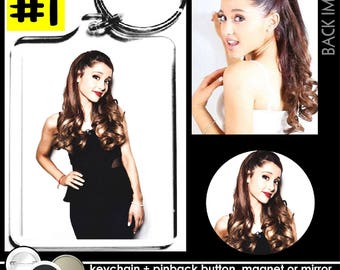 Ariana Grande KEYCHAIN + BUTTON or MAGNET or pocket mirror keyring pinback badge memorabilia pins key ring #1882
