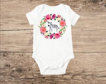 Zebra Baby Clothes, Jungle Animal Watercolor Zebra