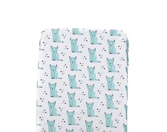 Mint Sleepy Fox Changing Pad Cover, Minky Changing Pad Cover, Sleepy Fox Changing Pad Cover, Fox Changing Pad Cover, Mint Changing Pad Cover