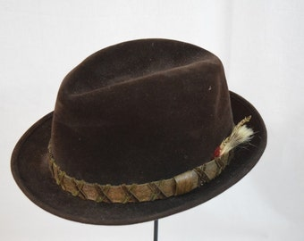 Vintage 1950s 1960s Dobbs brown fur felt Trilby Homburg with leather band and feather trim