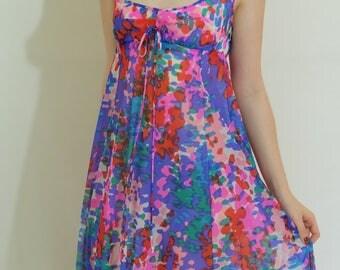 Vintage Watercolor Colorful Olga Nightgown, Tie Detail Bodice, Size 32