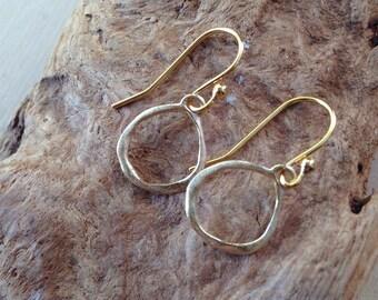 Gold Circle Earrings: Circle Earrings, Gold Earrings, Gold Hoop Earrings, Dangle Earrings, Gold Drop Earrings, Gold Dangle Earrings, Gold