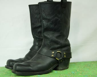 Vintage Black Riding Boots - Apocalypse Prepper - Genuine Farmhand Work boots - Size 10 1/2 US Mens, 11 1/2 US Women - D309