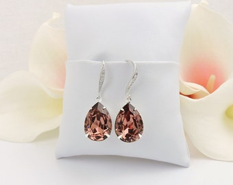 FREE US Ship Blush Rose Swarovski Teardrop Bridal Earrings In Silver Swarovski Blush Rose Bridal Earrings Dark Rose Crystal Earrings