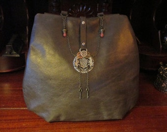 Steampunk Gothic Medieval Brown Cross Body Leather Bag  -- Castle Guard