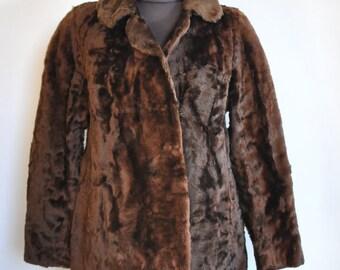abrigo astracan cuello piel vintage - vintedes