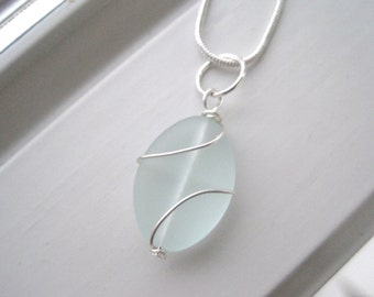Seafoam Green Necklace - Cultured Sea Glass Jewelry - Wire Wrapped Necklace - Seafoam Green - Wire Work Jewelry - Sea Foam Green Jewelry