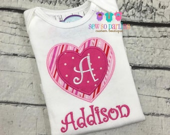 Baby Girl Valentine Outfit - Valentine Heart Girl Shirt - Valentines baby girl outfit - Personalized Heart Shirt - Girl Valentine Shirt