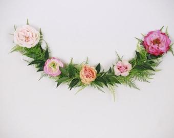 Floral garland, Flower garland, bohemian flower garland, floral wall hanging, wedding garland, floral garland