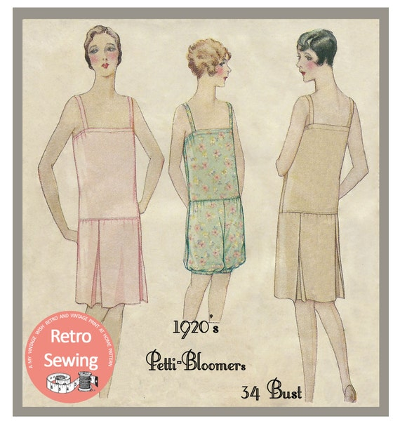 Retro Lingerie, Vintage Lingerie, 1940s-1970s 1920s Petti-Bloomer Lingerie Sewing Pattern - PDF  Sewing Pattern - Instant Download $10.01 AT vintagedancer.com