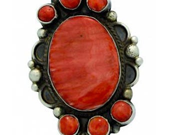 Vintage Old Pawn Native American Navajo Sterling Silver Mediterranean Coral Statement  Ring Size 7.5