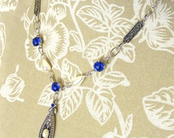 Sapphire & Pearl Edwardian Style Necklace, Award Winning Arcadia by Blucha Collection, Limited Edition Handcrafted Vintage Crystal Jewellery
