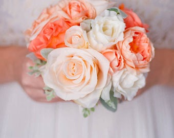 Custom Peony Rose Silk Flower Bouquet, Bridesmaid Bouquet, Coral Blush Real Touch Artificial Bouquet, Bridal Bouquet, Faux Bouquet